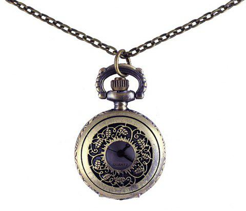 Engraved Flower Hollow-out Pocket Watch with Metal Chain - multicolor