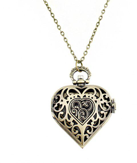Fashion Hollow-out Lovely Heart Pendant Pocket Watch with Metal Chain - multicolor