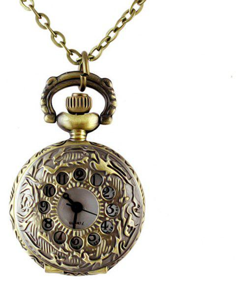 Elegant Jewelry Cute Hollow-out Carved Number Pendant Pocket Watch - multicolor