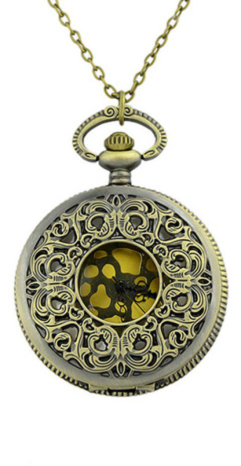 Fashion Hollow-out Carved Flower Pendant Pocket Watch with Metal Long Chain - multicolor