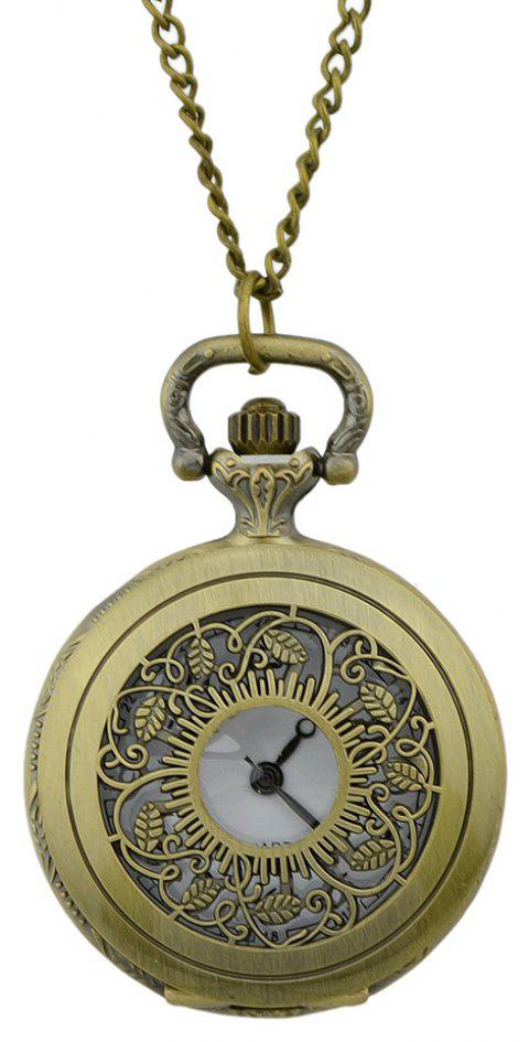 Fashion Hollow-out Leaf Pendant Pocket Watch with Metal Long Chain - multicolor