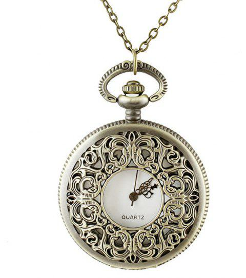 Fashion Hollow-out Number Pendant Pocket Watch with Metal Long Chain - multicolor