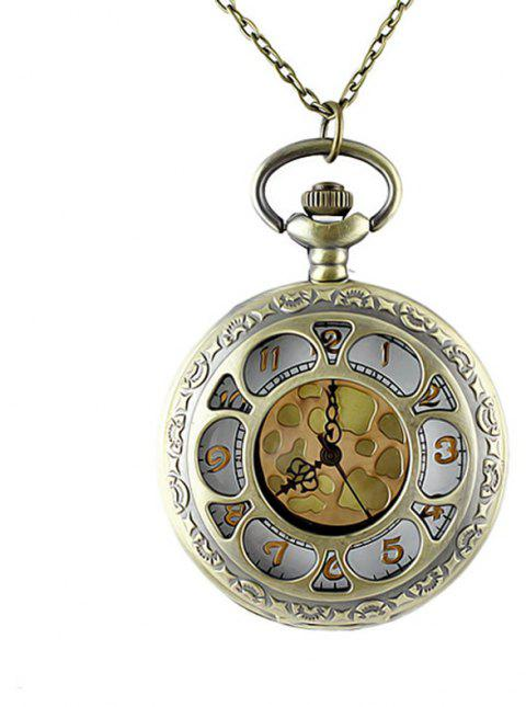 Carved Flower Hollow-out Pendant Pocket Watch with Metal Long Chain - multicolor