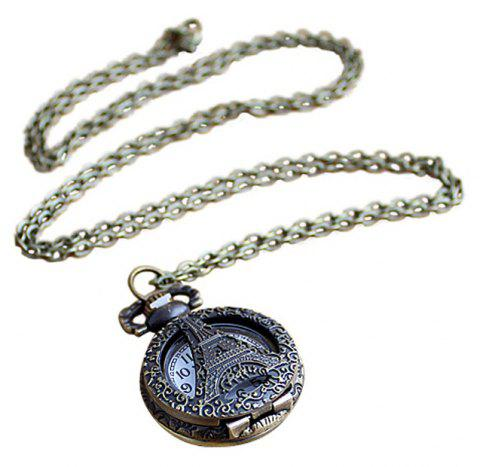 Cute Hollow-out Pendant Pocket Watch with Metal Long Chain - multicolor