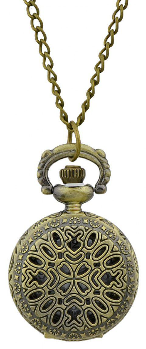 Hollow-out Flower Pendant Pocket Watch with Metal Long Chain - multicolor