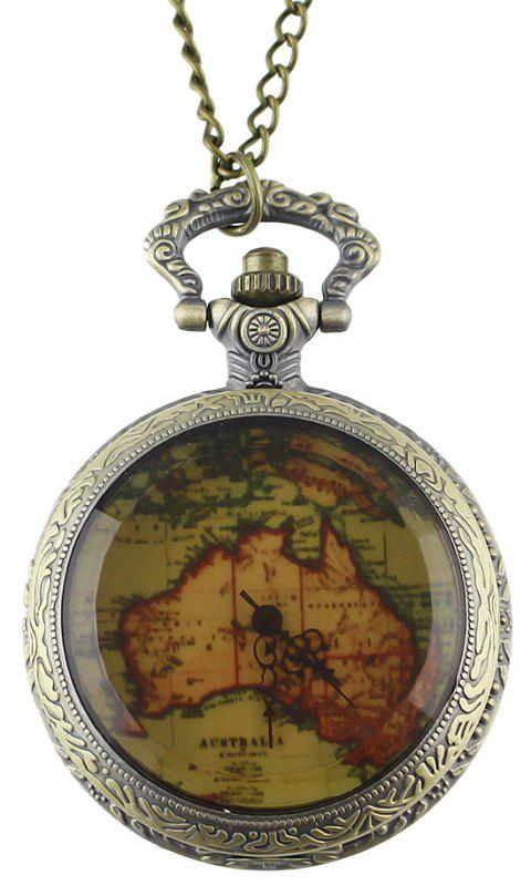 Fashion Flower Back and Map Pocket Watch with Metal Long Chain - multicolor