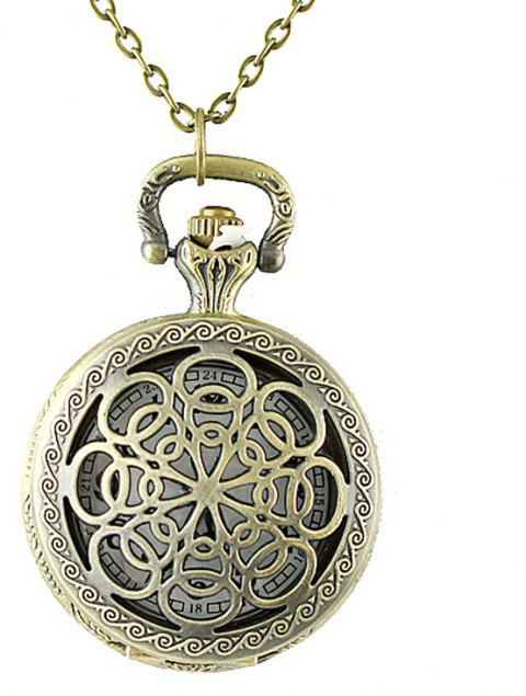 Hollow-out Cut Flower Pendant Pocket Watch with Metal Long Chain - multicolor