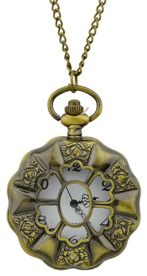 Beautiful Carved Flower Pendant Pocket Watch with Metal Long Chain - multicolor