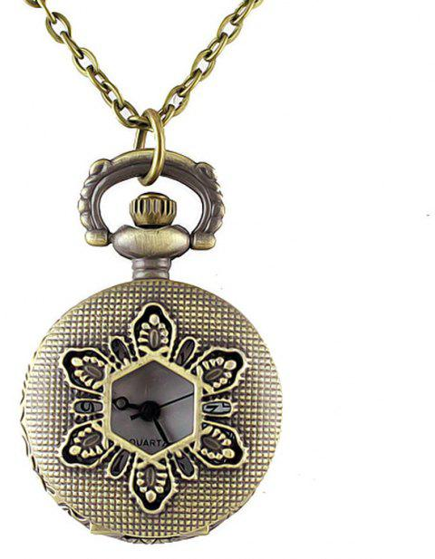 Cute Hollow-out Flower Pendant Pocket Watch with Metal Long Chain - multicolor