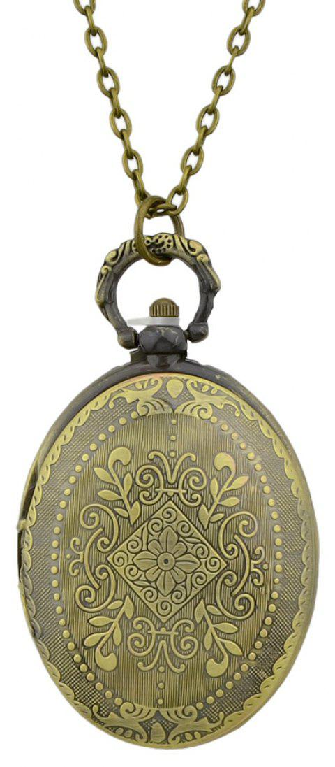 Egg Shape Carved Flower Pendant Pocket Watch with Metal Long Chain - multicolor