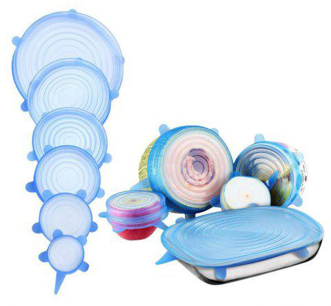 6PCS Food Wraps Reusable Silicone Fresh Keeping Sealed Covers - CRYSTAL BLUE