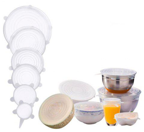 6PCS Food Wraps Reusable Silicone Fresh Keeping Sealed Covers - WHITE