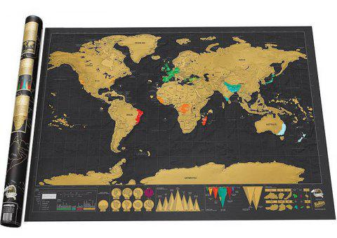 Deluxe Scratch Off World Map Poster Journal Log Giant Of The Gift - BLACK