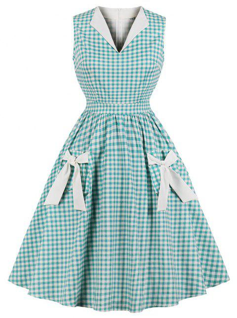 V-Neck Lapel Grid Bowknot Dress - CYAN OPAQUE 3XL