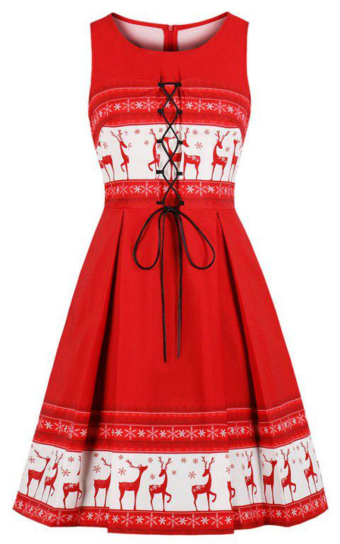 Christmas Round Collar Lace-Up Fold Elk Printing Dress - RED M