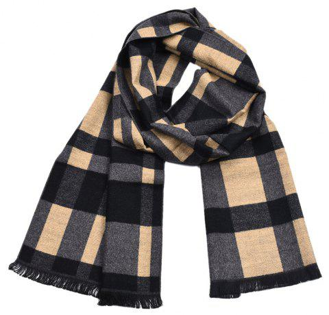 Men's Yarn-Dyed Plaid British Thick Double-Sided Long Scarf - multicolor A