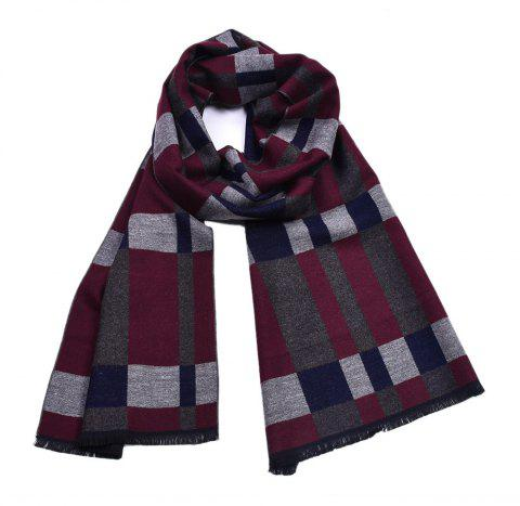 Men's Yarn-Dyed Plaid British Thick Double-Sided Long Scarf - multicolor B