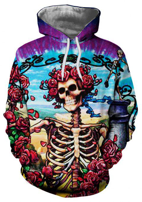 Fashion Trend Rose Skull Male 3D Printing Large Pocket Hoodie Sweater - multicolor L