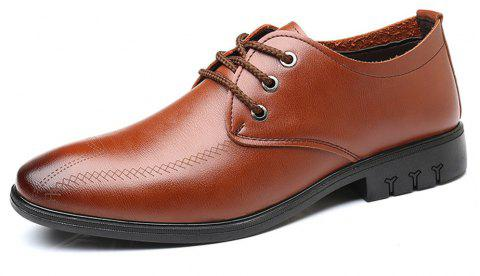 Fashion  Leather Casual Business Shoes For Men - CHESTNUT RED EU 43