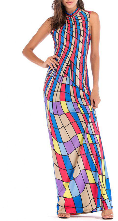 Women's Diamond-Shaped Printed Long Dress - multicolor M