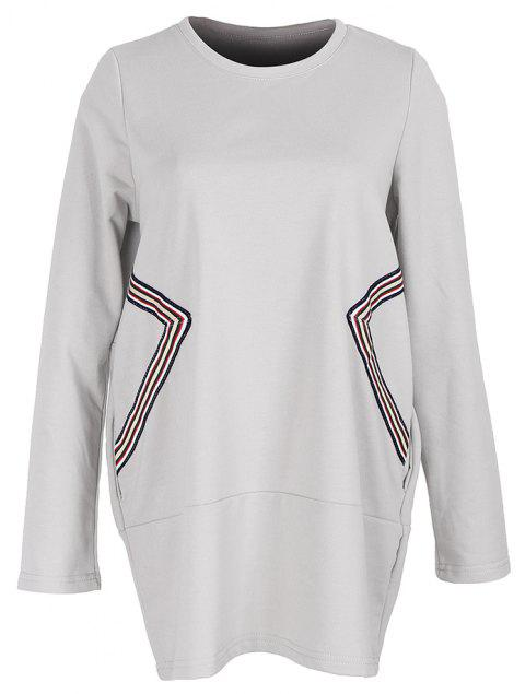 Large Size Women's Fashion Round Neck Loose Casual Long-Sleeved Sweater - LIGHT GRAY 2XL