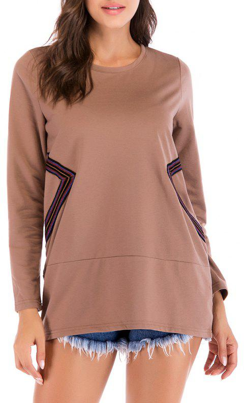 Large Size Women's Fashion Round Neck Loose Casual Long-Sleeved Sweater - COFFEE XL