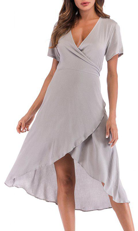 Women's Solid Color Slim Lace Sexy V-Neck Dress - LIGHT GRAY XL