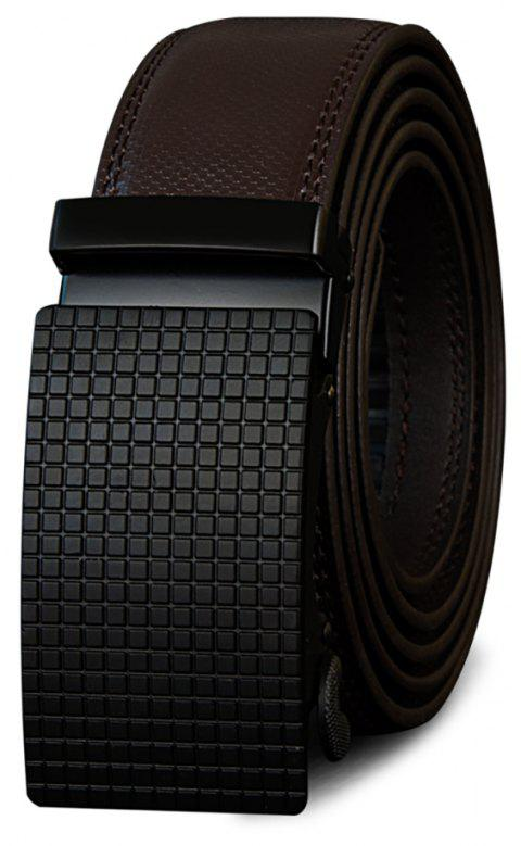 COWATHER Fashion Casual Leather Automatic Buckle Business Men's Belt - DEEP BROWN 110CM