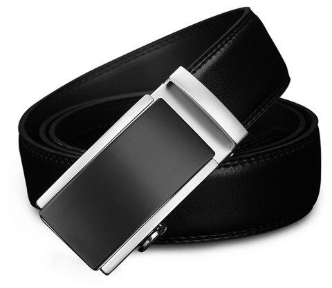 COWATHER Automatic Buckle Business Casual Fashion Leather Men's Belt - BLACK 110CM