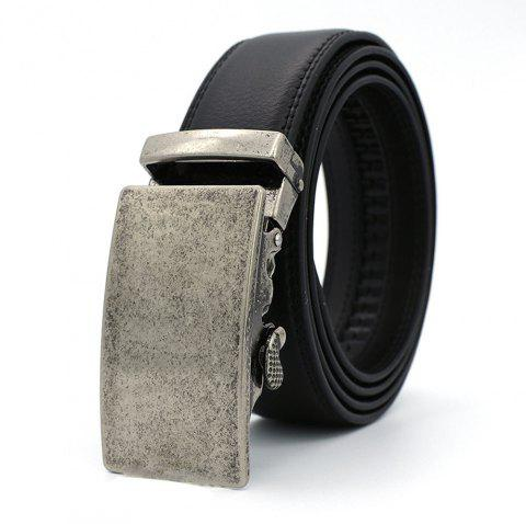 Automatic Double Faced Cowhide Business Man Belt - SILVER 110CM