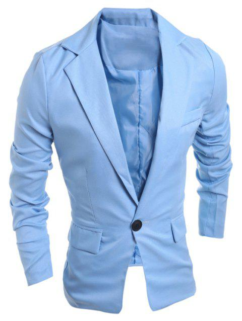 One Buckle Solid Color Casual Men's Suit - LIGHT SKY BLUE 2XL