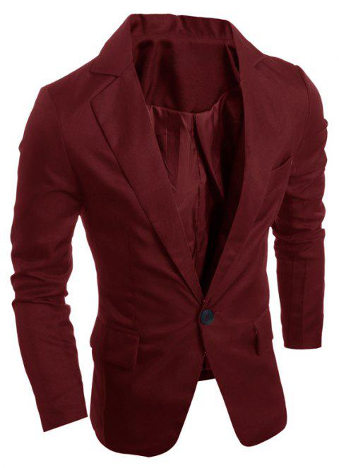 One Buckle Solid Color Casual Men's Suit - RED WINE M