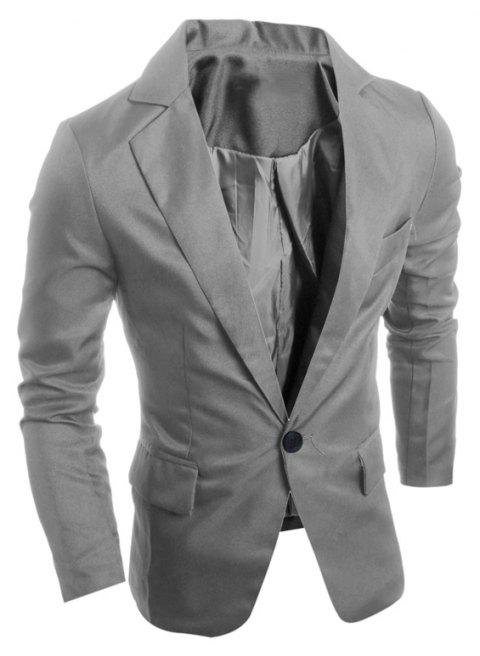One Buckle Solid Color Casual Men's Suit - DARK GRAY L