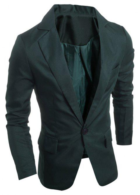 One Buckle Solid Color Casual Men's Suit - DEEP GREEN XL