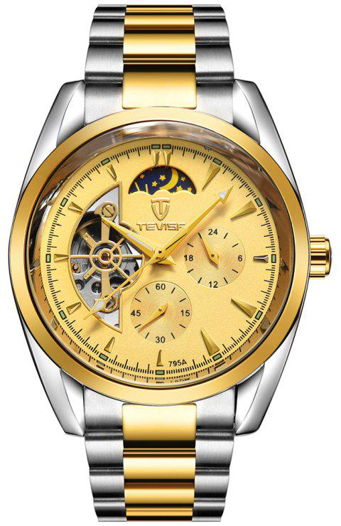 TEVISE Men's Casual Business Tourbillon Star Automatic Mechanical Watch - GOLD
