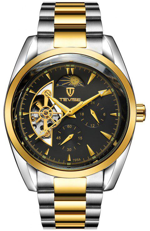 TEVISE Men's Casual Business Tourbillon Star Automatic Mechanical Watch - JET BLACK