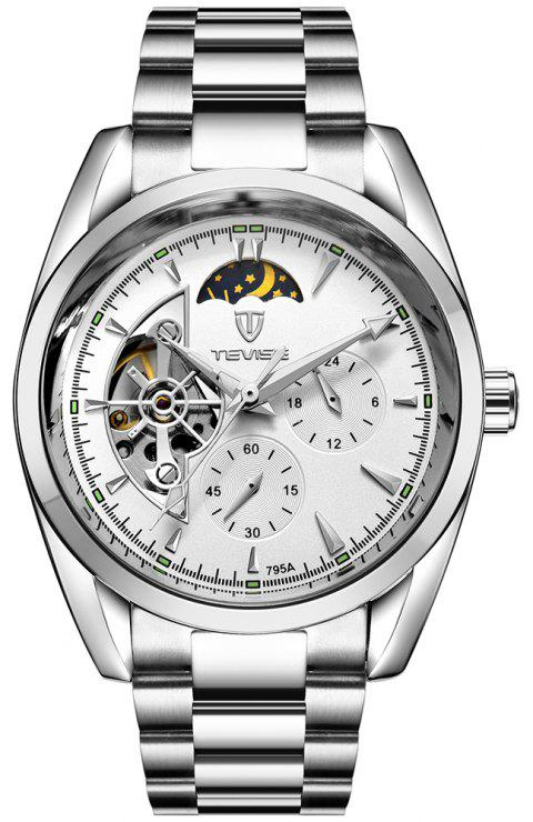 TEVISE Men's Casual Business Tourbillon Star Automatic Mechanical Watch - SILVER