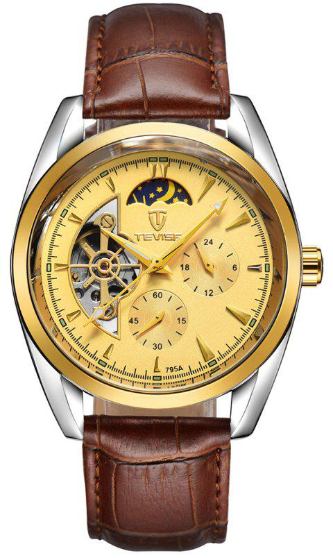 TEVISE Men's Casual Business Tourbillon Star Automatic Mechanical Watch - BROWN