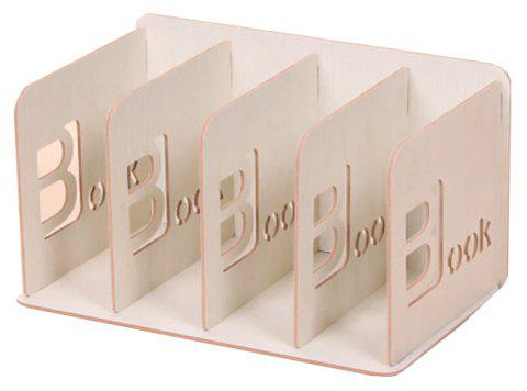 Creative Multi-Functional Wooden Office Stationery Book Stand - MILK WHITE 29.5*18.5*18CM