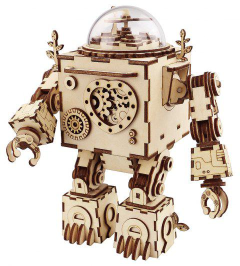 Robotime DIY Steampunk Rotatable Wooden Music Box Robot Orpheus AM601 - TAN SINGLE