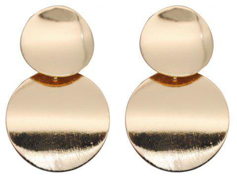 Drop Round Metal Design Vintage Simple Earrings Accessory - GOLD