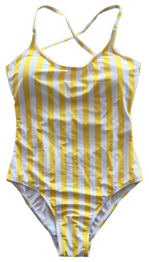 SleeWlM Printing Parent-Child Outfit Mom One-Piece Digital Printing Stripe - YELLOW M