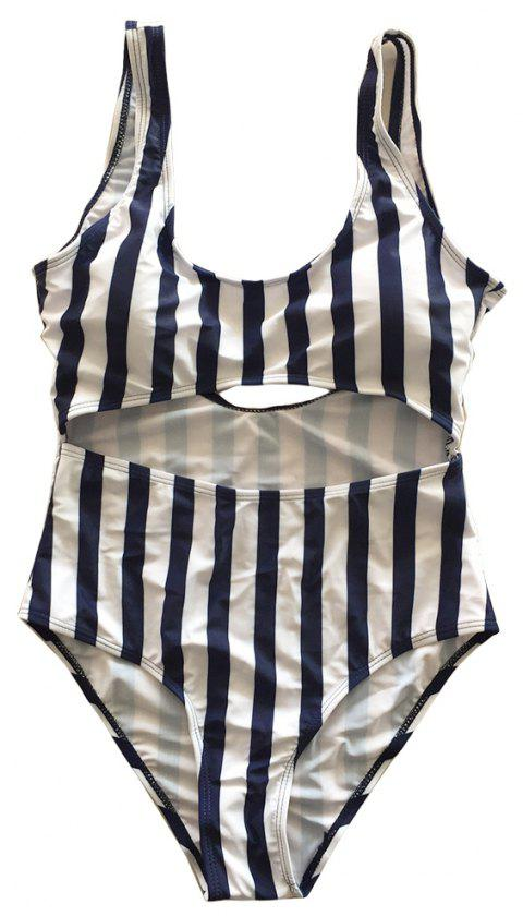 SleeWlM Printing One-Piece Swimsuit Parent-Child Outfit Mother Stripe - CADETBLUE XL