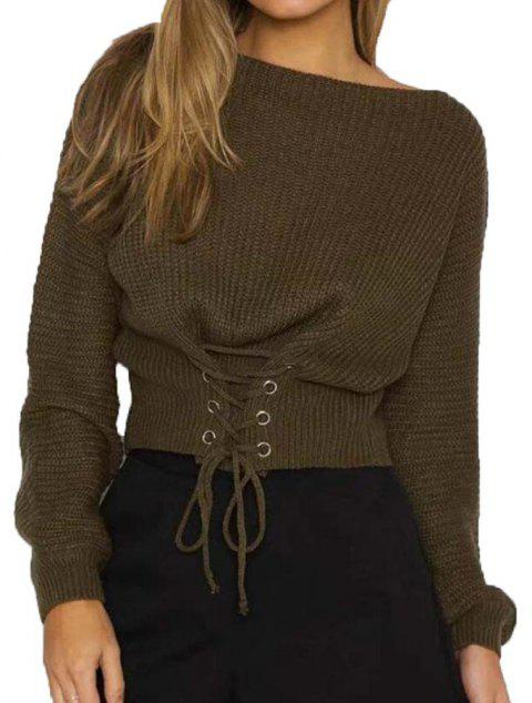 Round Collar Long Sleeve Sweater - ARMY GREEN ONE SIZE