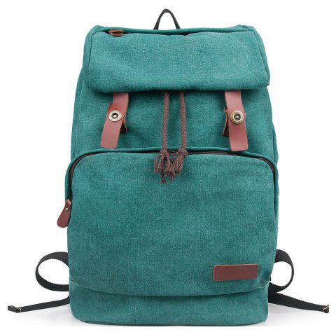 Vintage Unisex Canvas Backpack Casual Bag for College - GREENISH BLUE