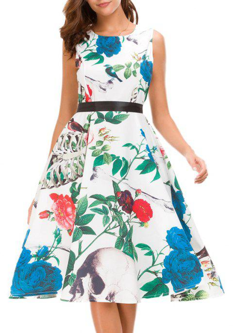 Green Sleeveless Digital Print Dress - LIGHT AQUAMARINE L