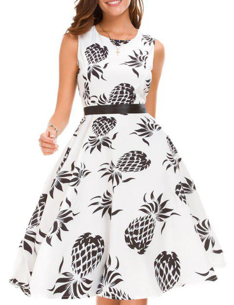 White Sleeveless Digital Print Dress - WHITE M
