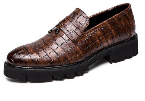 Men Thick Outsole Fashion Fringe Slip-On Leather Shoes - BROWN EU 38
