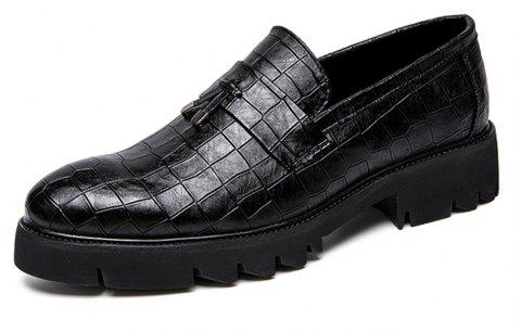 Men Thick Outsole Fashion Fringe Slip-On Leather Shoes - BLACK EU 43