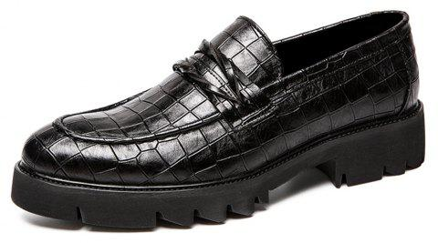 Men Fashion Slip-On Leisure Leather Shoes - BLACK EU 40
